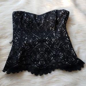 White House Black Market | Lace Corset Peplum Top